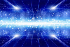 Blue light from glowing horizon Royalty Free Stock Image