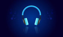 Blue light headphone vector Royalty Free Stock Photo