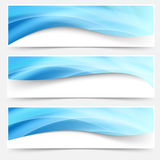 Blue light line headers footers collection Stock Images