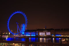 Blue light London eye Royalty Free Stock Photo