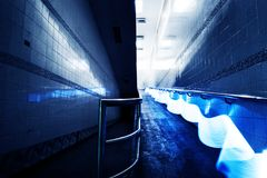 Blue light long exposure lines movement night time Royalty Free Stock Images