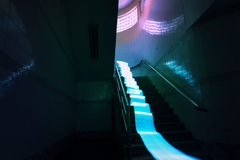Blue light long exposure lines movement at the stair night time Royalty Free Stock Photos