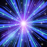 Blue Light rays with stars. Vector illustration Stock Images