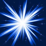 Blue light, star burst, stylised fireworks. Light, star burst; stylised fireworks from white to dark blue with little stars. Burst controlled by one linear Stock Image