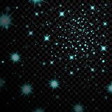 Blue light stars on black transparent background. Abstract bokeh glowing design. Shine bright elements. Shiny fantasy. Glow in dark. Vector illustration Stock Photo