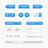 Blue Light User Interface Controls. Web Elements. Website, Software UI Royalty Free Stock Photo