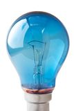 Blue lightbulb. Isolated on a white background Royalty Free Stock Photo