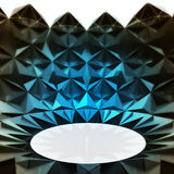 Blue lighted triangulated structure with oval down Royalty Free Stock Photos