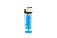Blue lighter isolated on white background Stock Photos