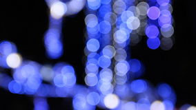 Blue lighting on the street during Xmas at night stock footage