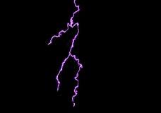 Blue lightning. Extends  across a black background Stock Photo