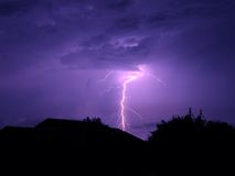 Blue Lightning. Electrical storm in Florida Stock Images