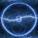 Blue lightning ball, abstract electrical plasma. Background Royalty Free Stock Photography