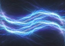 Blue lightning bolt, abstract electrical plasma. Background stock image