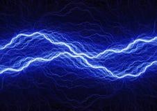 Blue lightning bolt. Abstract plasma and energy background Stock Photos