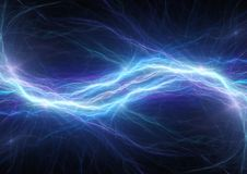 Blue lightning bolt. Abstract plasma and energy background Royalty Free Stock Photos