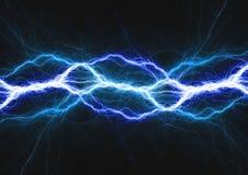 Blue lightning bolt,. Electrical and plasma background Royalty Free Stock Photos