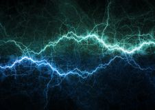Blue lightning bolt, plasma power and energy. Background stock photography