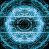 Blue Lightning Circle Fractal Art Concept With Shining Royalty Free Stock Photography