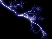 Blue Lightning, sidelong Royalty Free Stock Photos