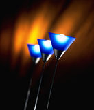 Blue Lights. Blue interior house lights with warm orange background royalty free stock photos