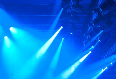 Blue lights. Blue entertainment lights with fog, detail photo Royalty Free Stock Image