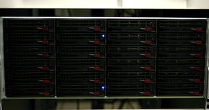 Blue lights blinking on servers stock footage