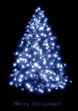Blue lights christmas tree Stock Photography