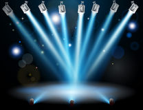 Blue lights concept. Blue lights focused on one spot in the centre Royalty Free Stock Images