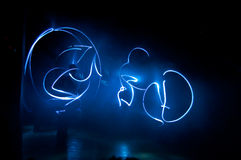 Blue lights in darkness Royalty Free Stock Photography