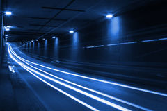 Blue lights inside the tunnel. Time-lapse Royalty Free Stock Images