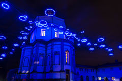 Blue lights on the Monte dei Cappuccini Church in Turin Royalty Free Stock Photo