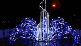 Blue lights in the New Year holidays in the night stock video
