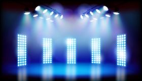 Blue lights on the stage. Vector illustration. Blue lights on the stage before the show. Abstract vector illustration Royalty Free Stock Images