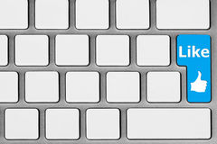 Blue Like Button. Social network concept. Blank Keyboard with blue Like button stock image
