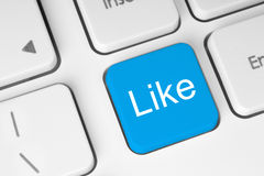 Blue like button on keyboard Stock Photography