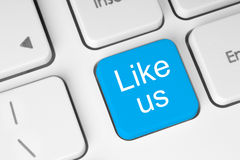 Blue like us button. On keyboard close-up royalty free stock image