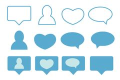 Blue Likes, followers and message icons royalty free stock photography