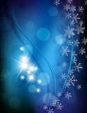 Blue lilac snowflakes background. With circles royalty free illustration