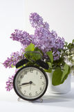 The Blue lilac on a wooden white table Royalty Free Stock Photography
