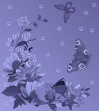 Blue lily and butterflies decoration Royalty Free Stock Image