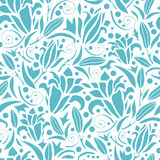 Blue lily silhouettes seamless pattern background Stock Photos