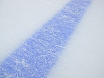 Blue line. On ice hockey rink Stock Image