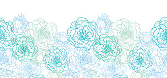 Blue line art flowers horizontal seamless pattern Stock Photography
