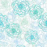 Blue line art flowers seamless pattern background Stock Images