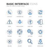 Blue Line Basic Interface Icons Stock Photo