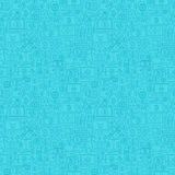 Blue Line Bitcoin Seamless Pattern. Vector Illustration of Outline Tile Background. Cryptocurrency Financial Items Royalty Free Stock Photography