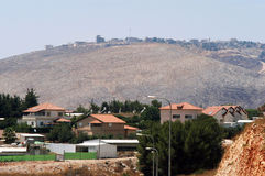 The Blue Line border between Israel and Lebanon. AVIVIM, ISR - JULY 26:Landscape of the Blue Line border near Avivim and Bint Jbeil on July 26 2006.It's a border Stock Photo