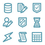 Blue line database icons Stock Photography
