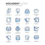 Blue Line-Documentenpictogrammen stock illustratie